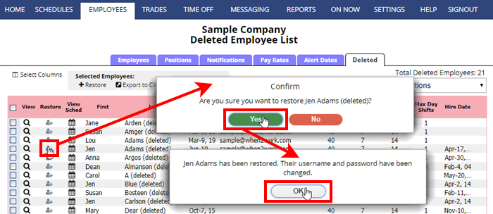 restore a deleted employee