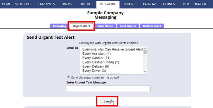 send urgent text alert