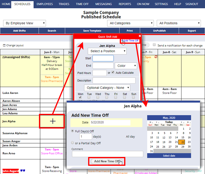 add time off from employee view