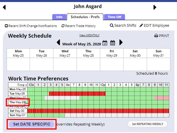 emp schedule prefs date specific
