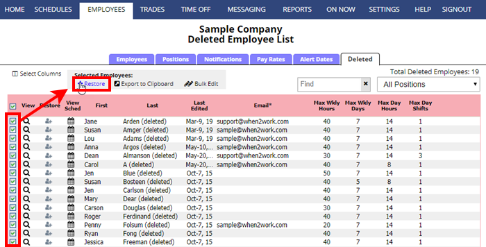 restore multiple deleted employees