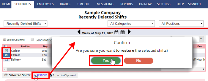 restore recently deleted shifts