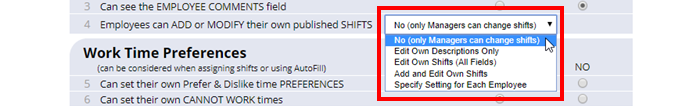 permission emp can add or modify shifts option setting