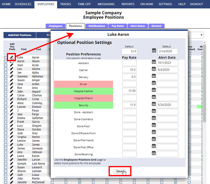 employee positions grid edit preferences