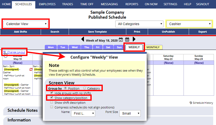 calendar weekly view category settings