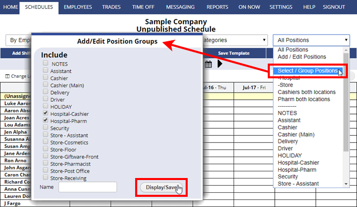 add edit create group position