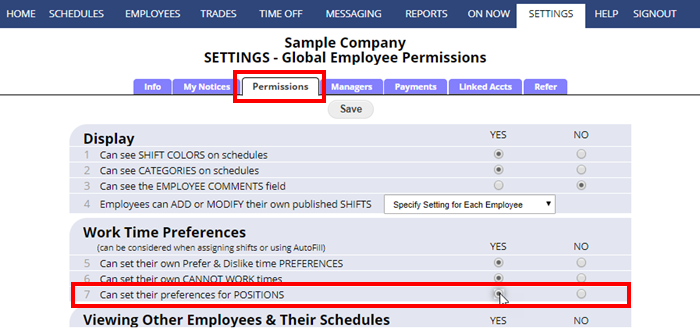 permissions settings let employees set their preferences for positions