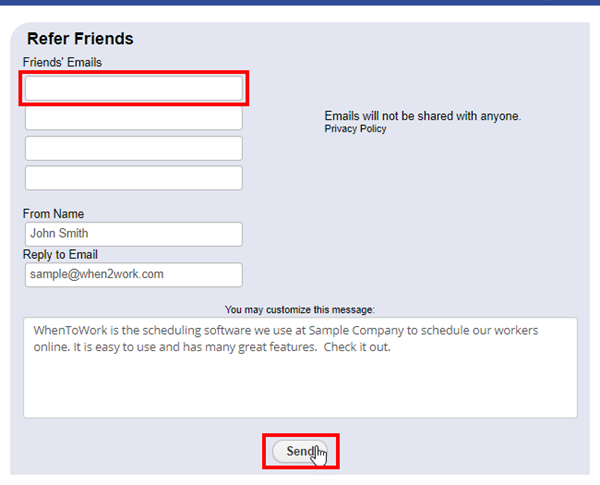 refer a friend popup enter emails
