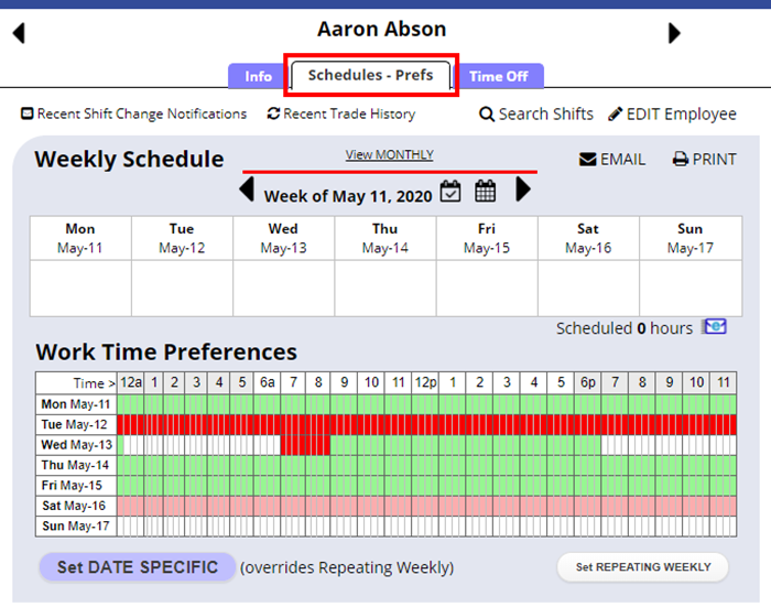 employee details schedule preferences tab