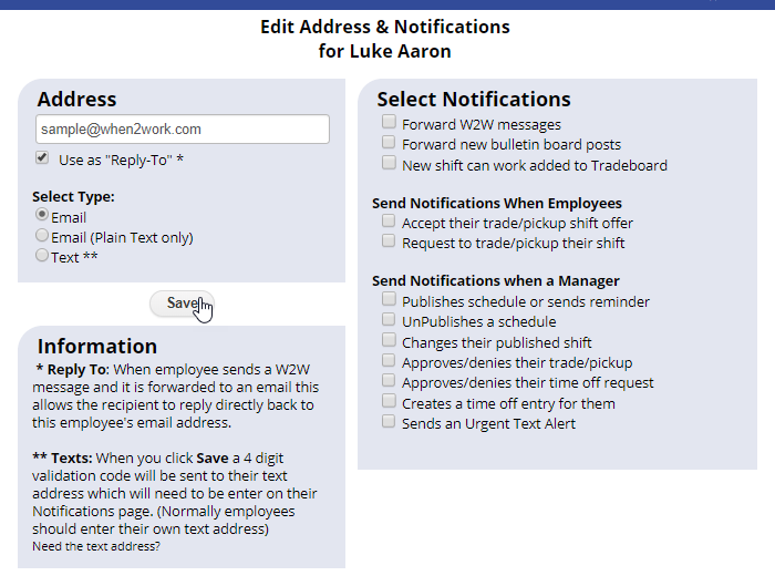 employee email address and notifications