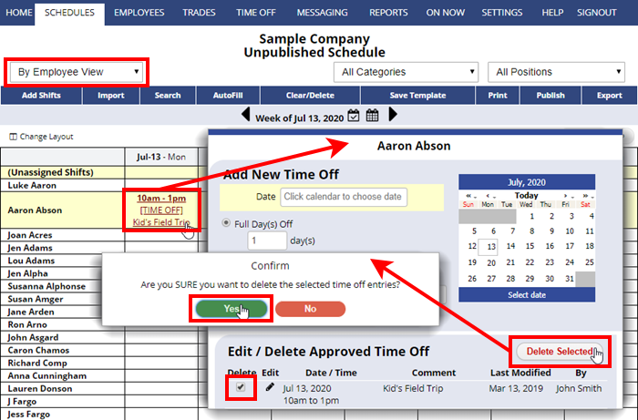 delete time off from employee schedule view