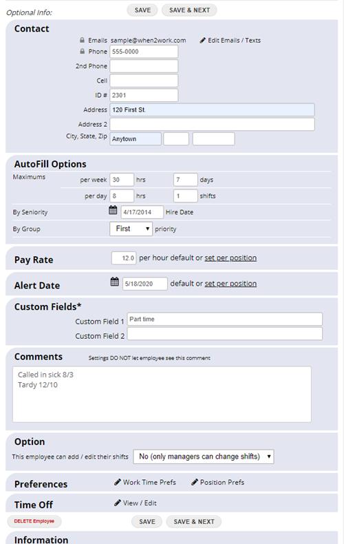 edit employee details optional info