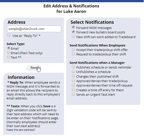 email address notifications for employee