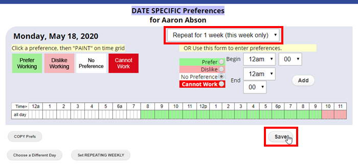 date specific repeating preferences paint