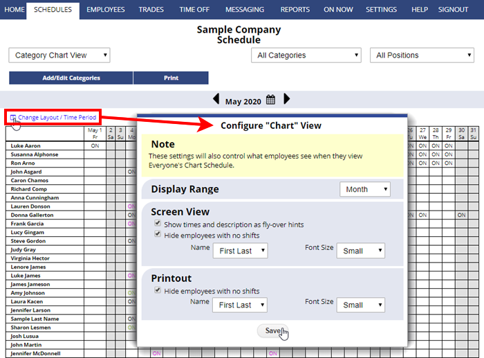 category chart view change layout configure