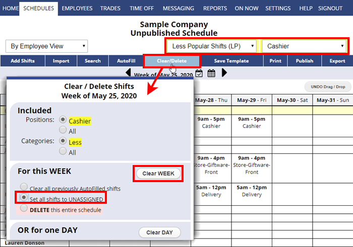 clear delete unassign multiple shifts