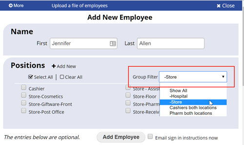 Add employee new position group dropdown
