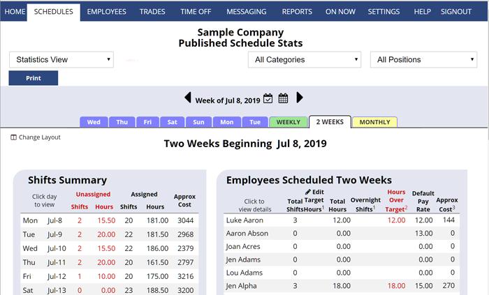 bi weekly schedule view