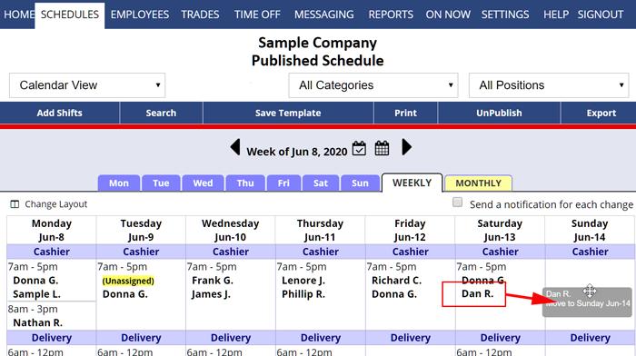 drag drop shift calendar weekly