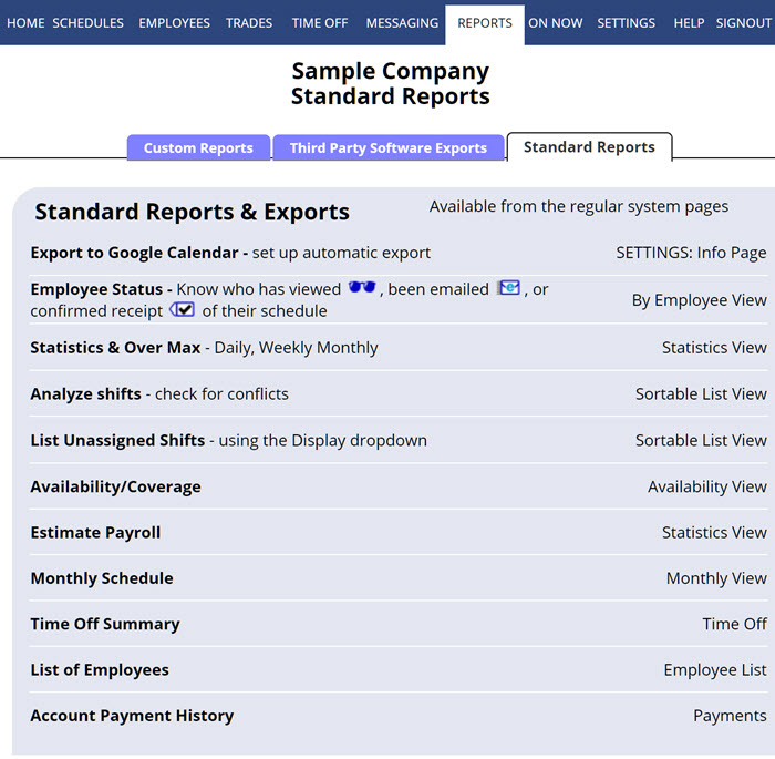 Reports - Standard Reports